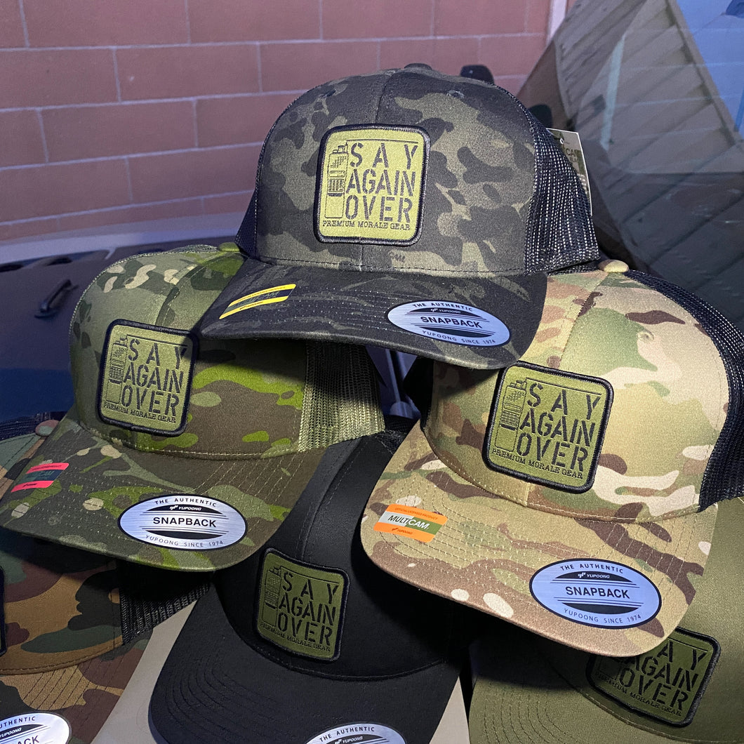 Say Again Over patch on MultiCam Black hat