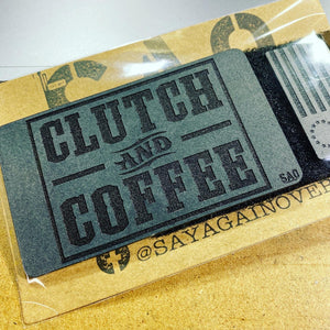 custom morale patch, clutch and coffee