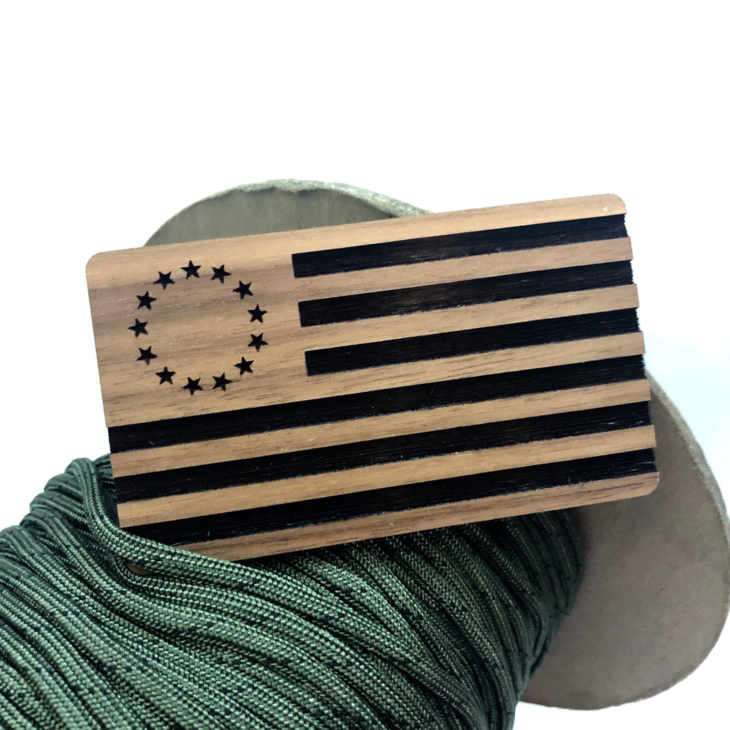 betsy ross flag, morale patch, solid walnut morale patch