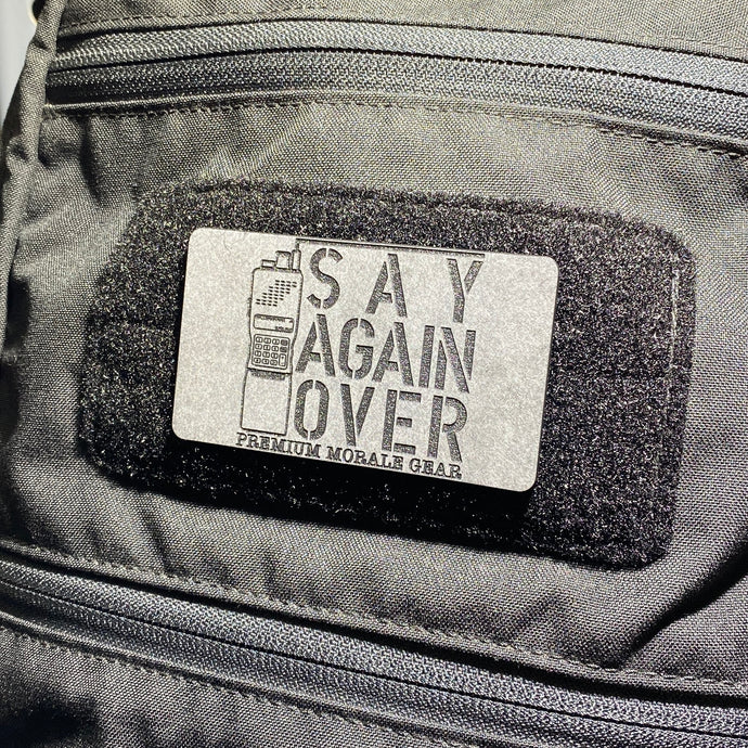 say again over, velcro morale patch