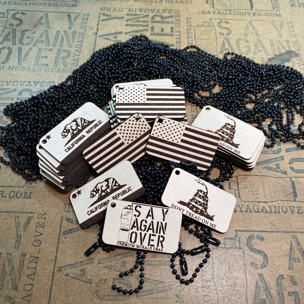 Say Again Over Logo Mini Morale Tag (Keychain)