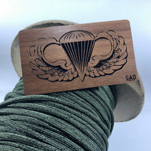 Load image into Gallery viewer, airborne wings velcro morale patch, solid walnut, wood patch