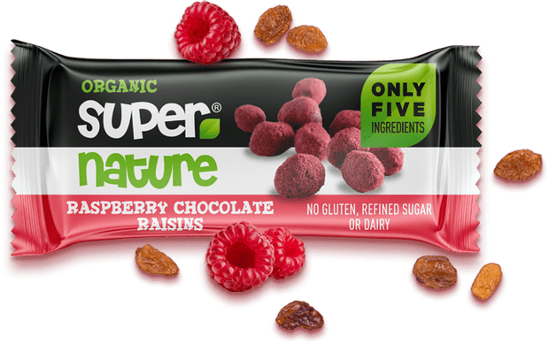 Buy Raspberry Chocolate Raisins (Box of 12) - Vegan Snacks from Supernature