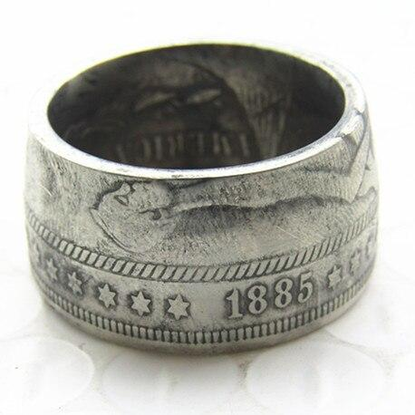 Hobo 1885 Morgan Silver Dollar Coin Ring Silver Plated Handmade In Sizes 5-16 - COINSPESO