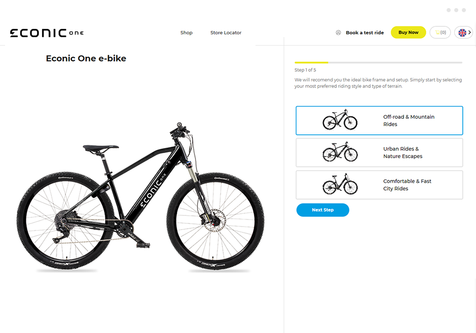 See our custom product builder that allows the visitor to build his own e-bike with just 5 steps!