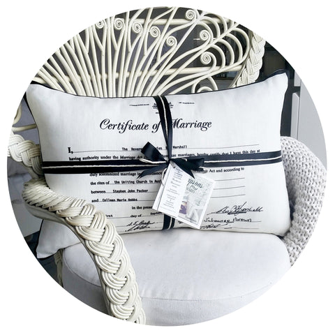 Wedding Certificate Cushion