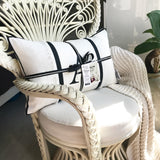 Fringed linen cushion