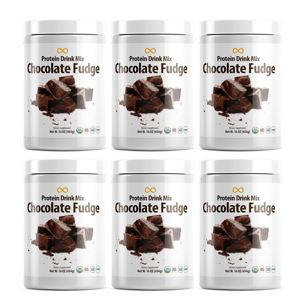 Vegan Protein Drink Mix, Chocolate Fudge, 16 oz, 6 Pack