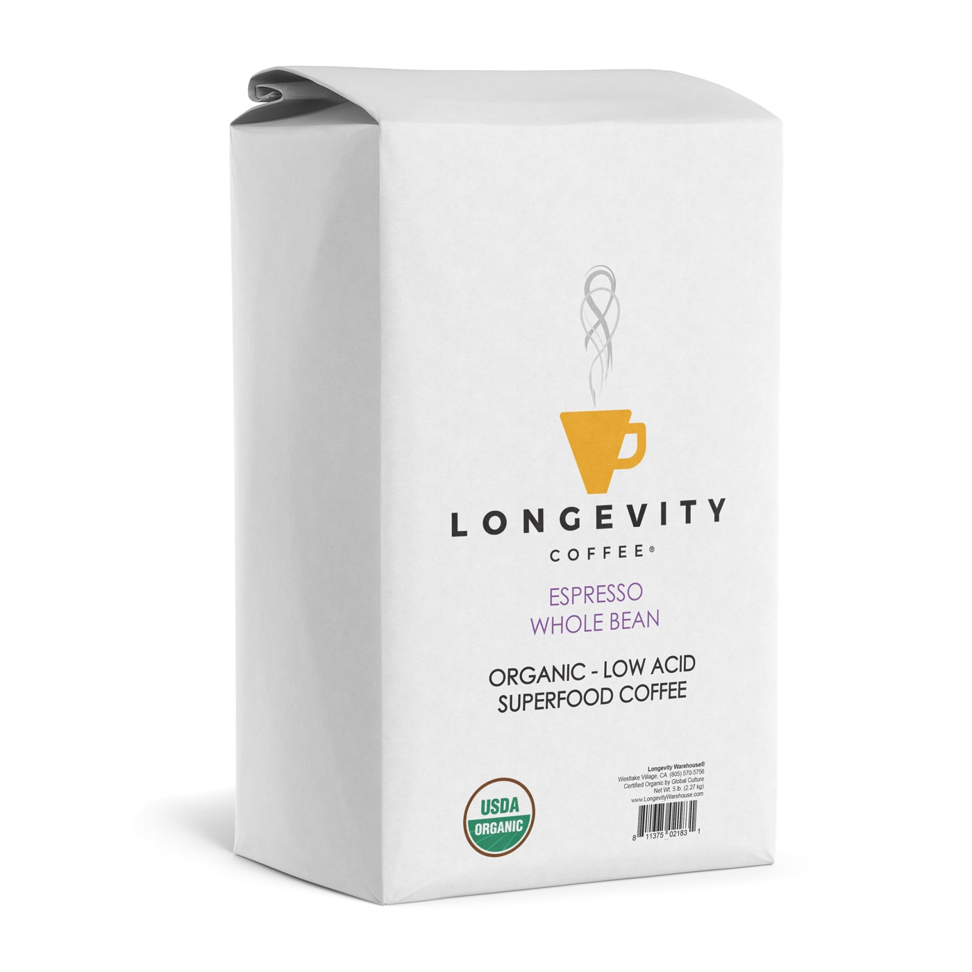 Longevity Coffee ESPRESSO Medium Roast, 5 lb BULK BAG WHOLE BEANS
