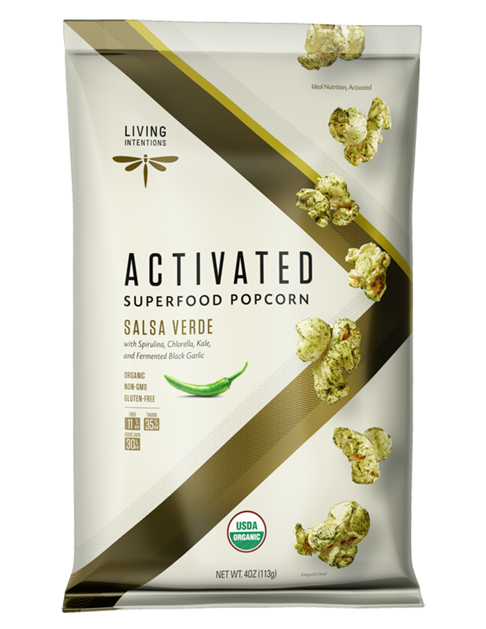 Activated Superfood Popcorn, Salsa Verde, with Fermented Black Garlic, 4 Ounce