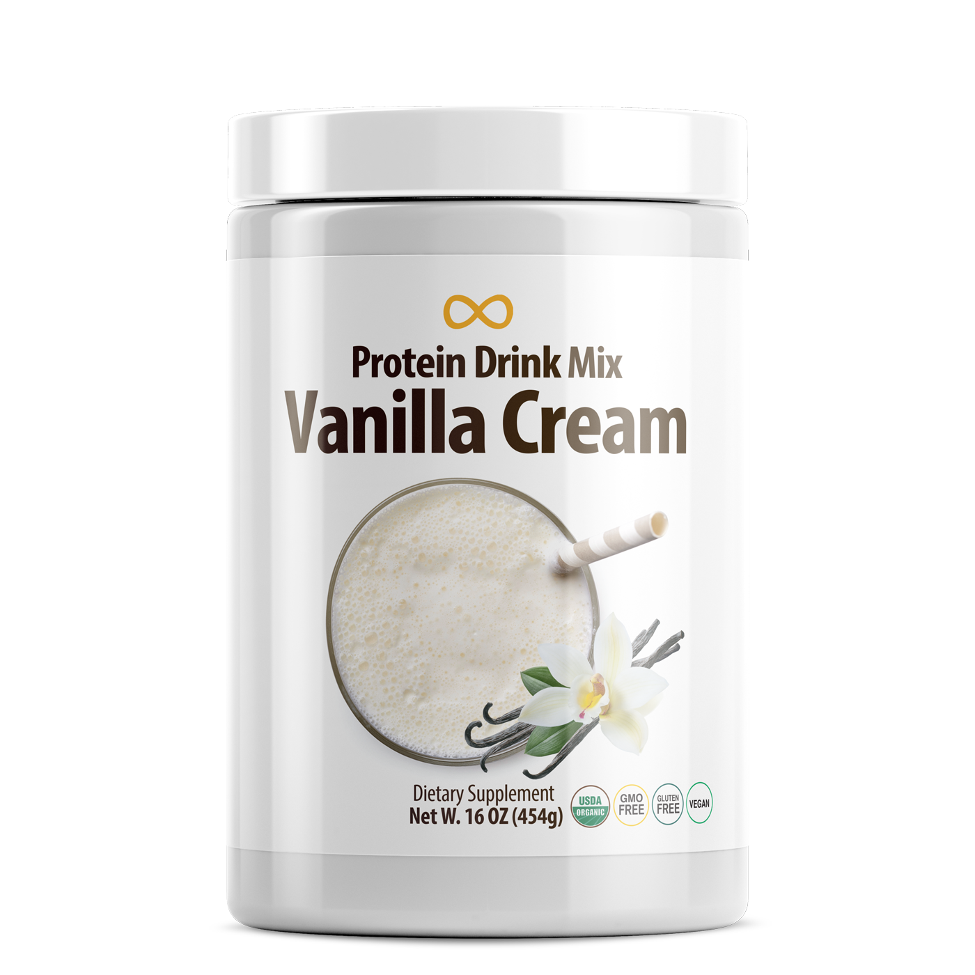 Vegan Protein Drink Mix, Vanilla Cream, 16 oz (453 g)