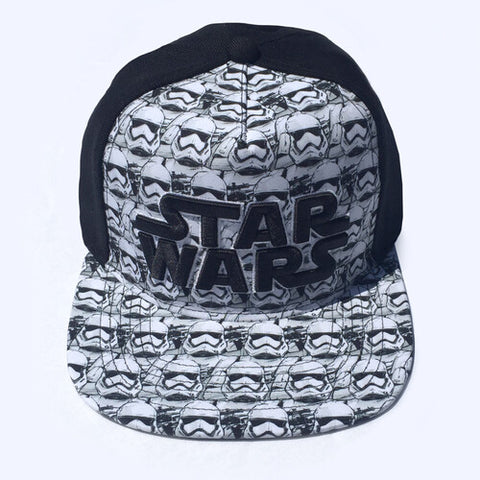 Star Wars Logo & Storm Trooper Black & White Embroidered SnapbackBaseball Cap