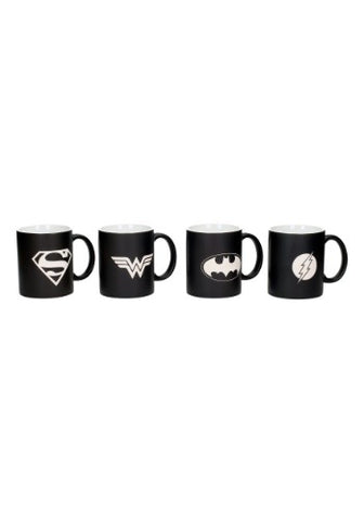 DC COMICS JUSTICE LEAGUE LOGOS 4 PC MUG SET