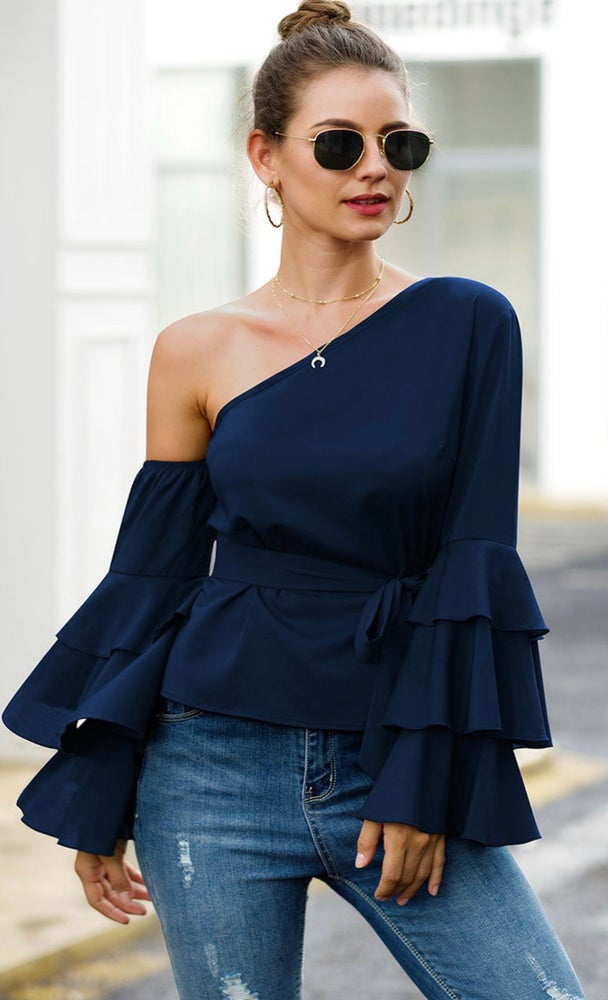 Let's Party Ruffled Sleeve Shirt  (Navy)