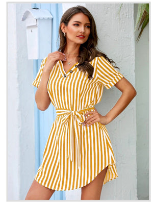 Wrap Me Mini Dress-Yellow