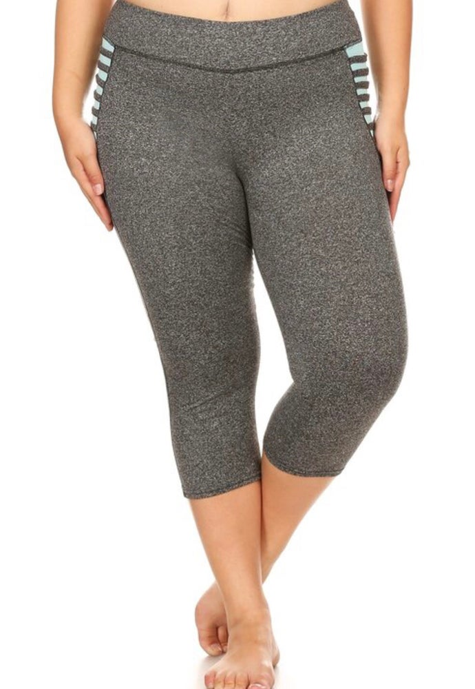 Grey Capri Leggings -Plus Size