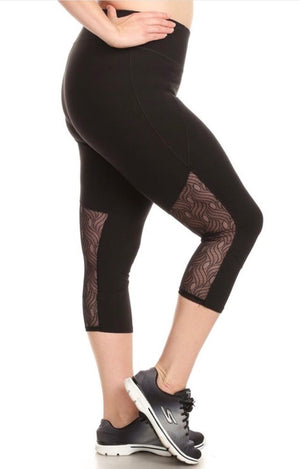 Black Lace Capris-Plus Size