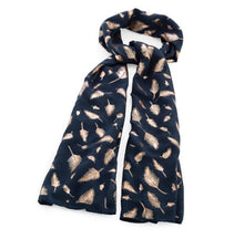 Load image into Gallery viewer, Navy and Rose Gold Shiny Feather Scarf