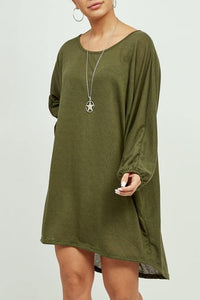 Khaki Oversized Lightweight Jersey Necklace Top