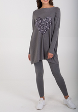 Load image into Gallery viewer, Grey Sequin Heart Oversized Top and Leggings Set