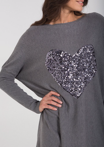 Grey Sequin Heart Oversized Top and Leggings Set