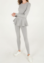 Load image into Gallery viewer, Grey Lace Back Peplum Top and Leggings Set