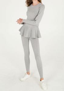 Grey Lace Back Peplum Top and Leggings Set
