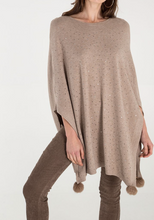 Load image into Gallery viewer, Beige Diamante Pom Pom Poncho