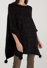 Load image into Gallery viewer, Black Diamante Pom Pom Poncho