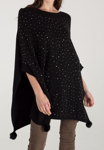 Black Diamante Pom Pom Poncho