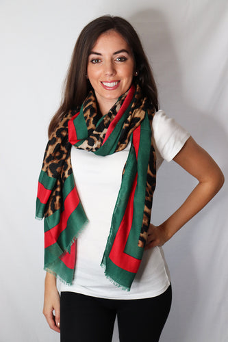 Leopard Print Frayed Scarf With Green and Red Border
