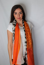 Load image into Gallery viewer, Orange Rectangle Leopard Print Scarf