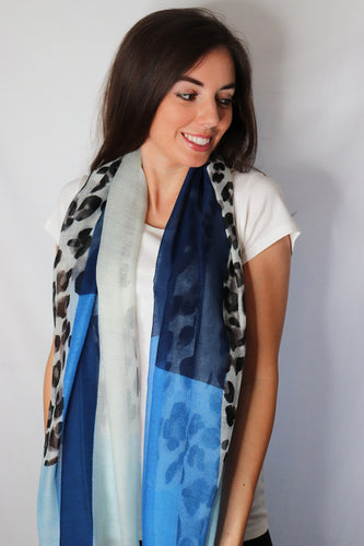 Blue Rectangle Leopard Print Scarf