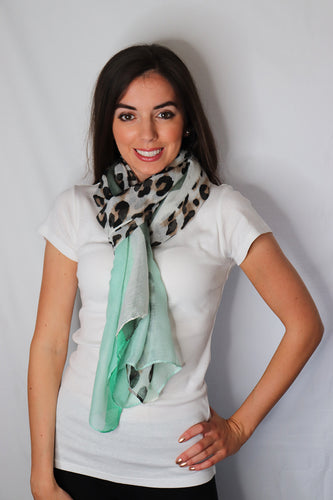 Green Rectangle Leopard Print Scarf