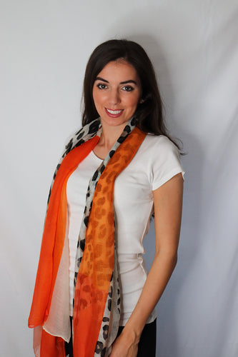 Orange Rectangle Leopard Print Scarf