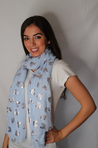 Blue and Rose Gold Heart Design Scarf