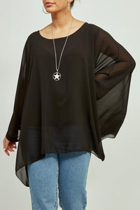 Black Batwing Necklace Top