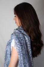 Load image into Gallery viewer, Blue and Rose Gold Glitter Snake Print Scarf