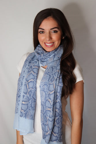 Blue and Rose Gold Glitter Snake Print Scarf
