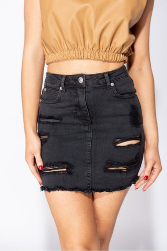 Charcoal Distressed Denim Skirt