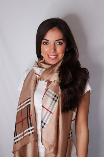 Plaid Square Print Silk Scarf