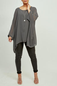 Dark Grey Batwing Necklace Top