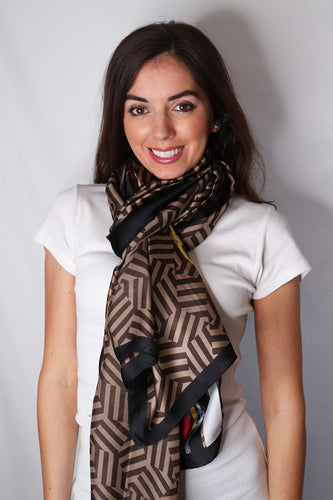 Graphic Illusion With Text Print Silk Scarf