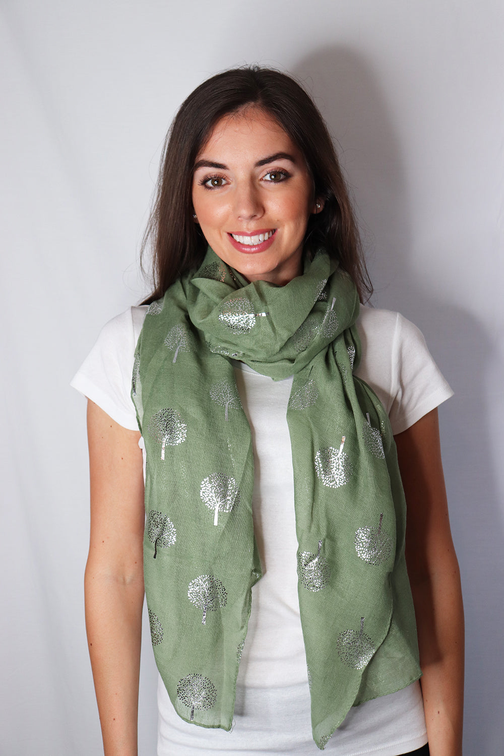 Green Silver Tree Print Scarf