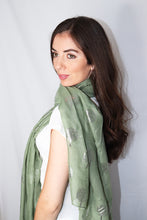 Load image into Gallery viewer, Green Silver Tree Print Scarf