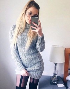 Grey Cable Knitted Jumper Dress
