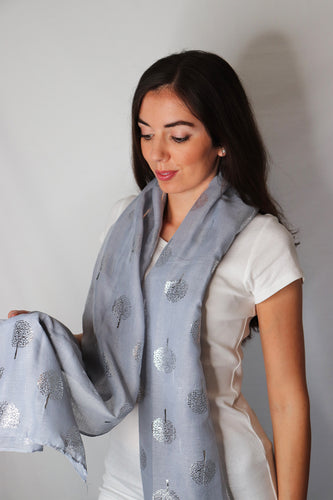 Grey Silver Tree Print Scarf