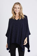 Load image into Gallery viewer, Navy Embellished Pom Pom Poncho