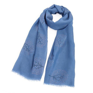 Blue Rose Gold Glitter Effect Tree Scarf