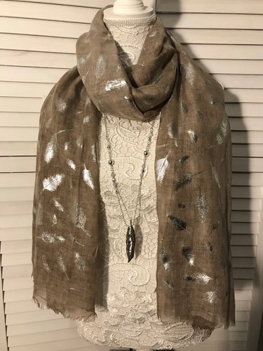 Khaki Feather Print Scarf